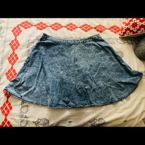 Forever 21 Denim-patterned Cotton Skater Skirt
